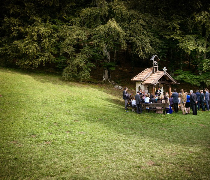 Symbolic ceremony outdoor, rite in mountain Chapel